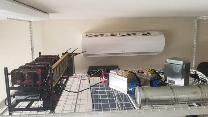 Bitcoin Cryptocurrency Mining in Garage with AC